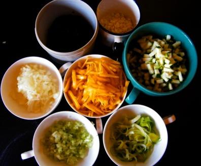 Zutaten für den Sugo: 1 Zucchino, 1/2 Zwiebel, 3 Knoblauchzehen, etwas Petersil, 1 große gelbe Rübe, 1 Stange Stangensellerie, Lauch, Olivenöl, Pfeffer, etwas Chili und Weißwein