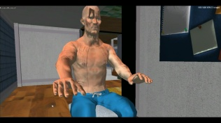 Vorher: Charakter mit seltsamer zusätzlicher Textur
