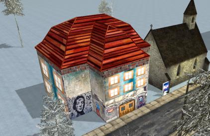 Graffitihaus mit Dach