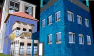 blaues Haus mit versetzten Fenstern