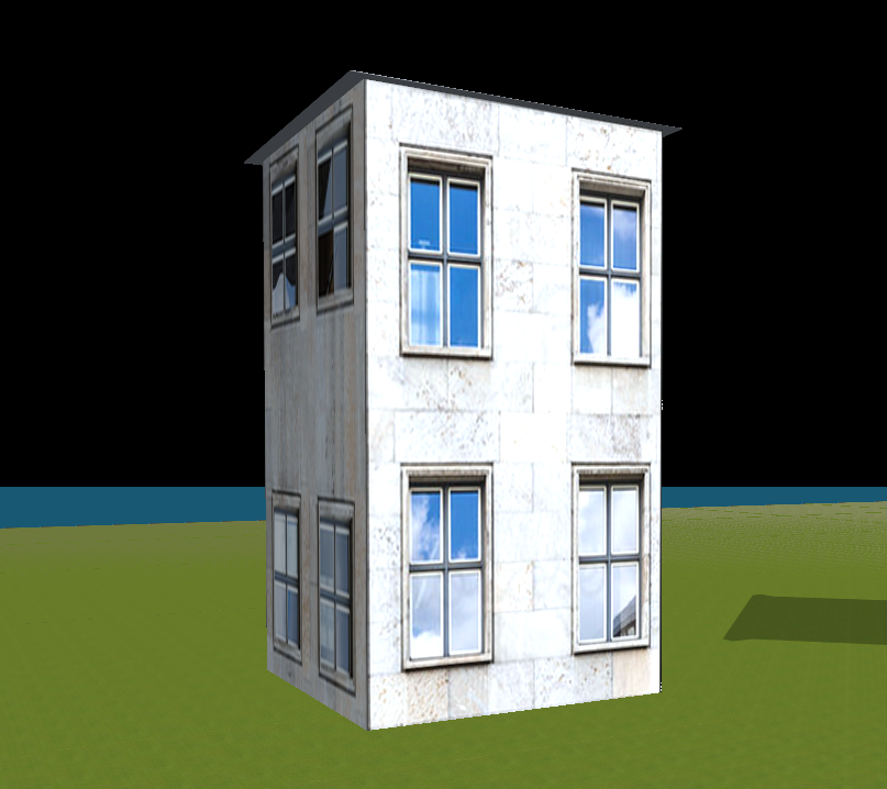 Nice Blaues Haus Mit Versetzten Fenstern