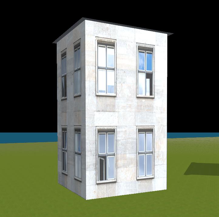 Attractive Blaues Haus Mit Versetzten Fenstern