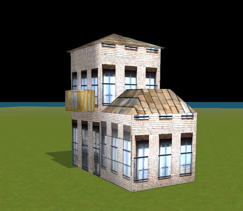 Lovely Blaues Haus Mit Versetzten Fenstern